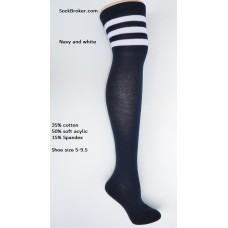 Cotton navy blue and white 3 striped over the knee thigh high socks