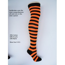 Black-orange cotton thick striped over the knee thigh high socks