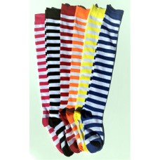 Cotton White Striped Over The Knee Thigh Hi Socks