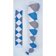 White with gray and blue over the knee cotton argyle socks size 4-9
