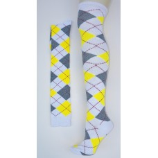 White with gray and yellow over the knee cotton argyle socks size 4-9