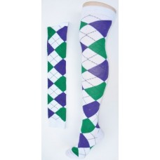 White with green and purple over the knee cotton argyle socks size 4-9
