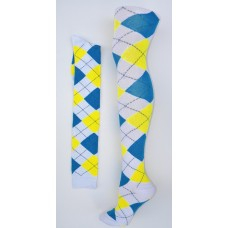 White with blue and yellow over the knee cotton argyle socks size 4-9