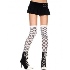 Opaque black and white checkered thigh-hi with crossbone Print by Music Legs