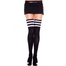 Thigh high black athlete tube socks with 3 white stripes