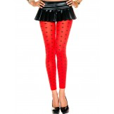 Opaque Red with Black Polka Dot Leg..