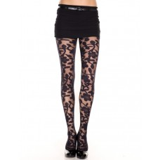 Spandex sheer floral designed pantyhose