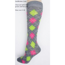 Charcoal with neon green and pink diamond argyle knee high socks