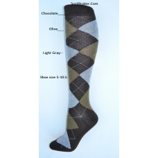 Sz 5-10.5 Chocolate brown with olive and gray argyle knee high socks