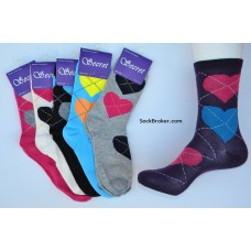 6 pairs of assorted heart argyle mid-calf trouser socks