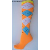 Orange with white and blue argyle k..
