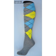 Gray with yellow and blue argyle knee high socks