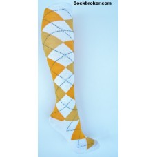 White with orange argyle knee high socks sz 5-10.5