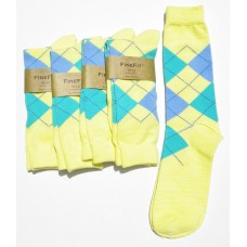 Cotton light yellow argyle socks with green and blue diamonds