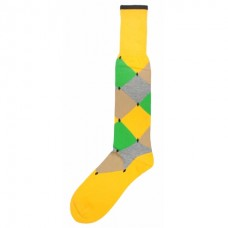 Premium mercerized cotton Yellow diamond argyle comfort top over the calf dress socks